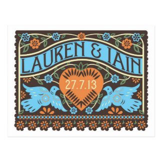 Papel Picado Style Lovebirds Save the Date Postcard