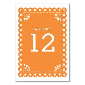 Papel Picado Table Number - Orange