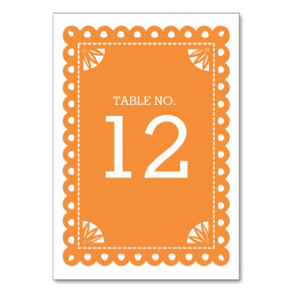 Papel Picado Table Number - Orange Table Cards