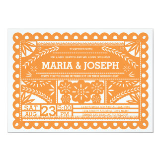 "Papel Picado Wedding Invite - Orange 5"" X 7"" Invitation Card"
