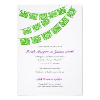 Papel Picado Wedding Party Invite Green