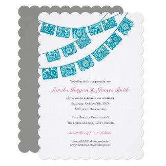Papel Picado Wedding Party Invite Teal