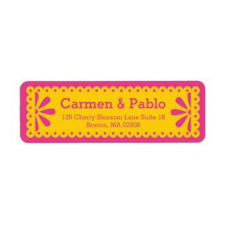 Papel Picado Yellow & Fuchsia Return Address