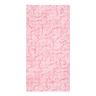 PAPER040 PINK FLORAL BACKGROUNDS GIRLY HAPPY SPRIN CUSTOMIZED PHOTO CARD