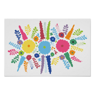 PAPER558 BRIGHT COLORFUL HAPPY FLOWERS CARTOON MEX PRINT