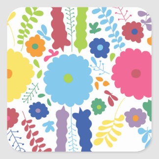 PAPER558 BRIGHT COLORFUL HAPPY FLOWERS CARTOON MEX SQUARE STICKER