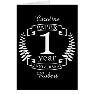 Paper 1st wedding anniversary 1 year card