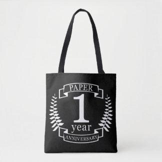 Paper 1st wedding anniversary 1 year tote bag