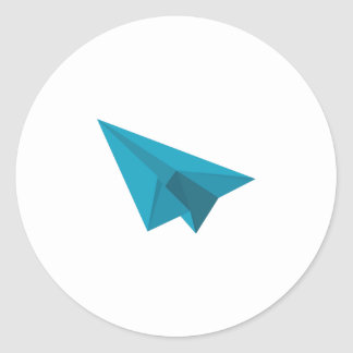 Paper Airplane Classic Round Sticker