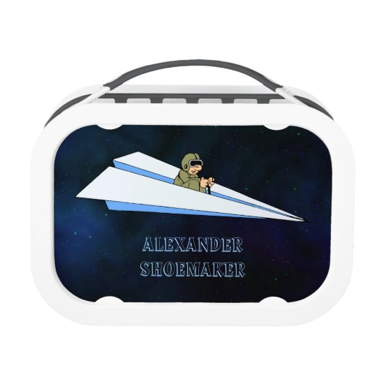 Paper Airplane Flying With Pilot In Space Lunchboxes