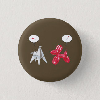Paper and Baloon Dog 1 Inch Round Button