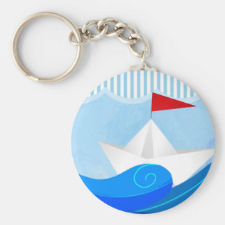 Paper Boat button keychain