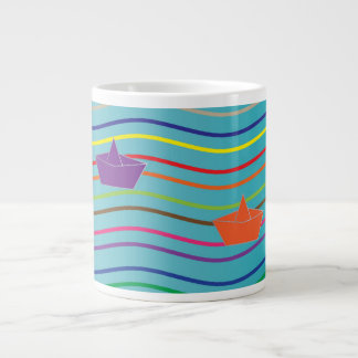 Paper boats floating on the water 20 oz large ceramic coffee mug