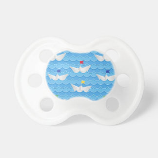 Paper Boats Sailing On Blue Pattern Pacifiers