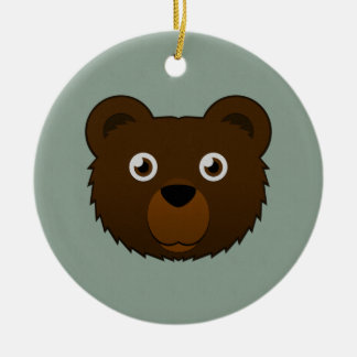 Paper Brown Bear Round Ceramic Ornament