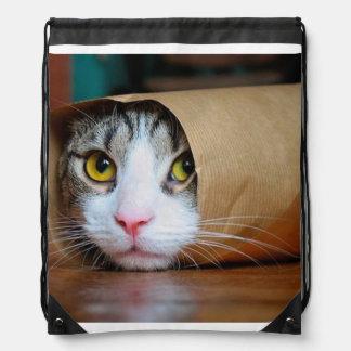 Paper cat - funny cats - cat meme - crazy cat drawstring bag