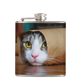 Paper cat - funny cats - cat meme - crazy cat hip flask