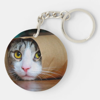 Paper cat - funny cats - cat meme - crazy cat keychain