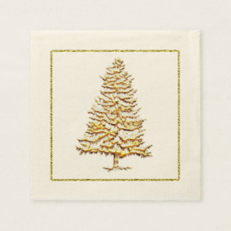 Paper Christmas napkin faux gold tree and outline Disposable Napkins