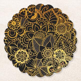 Paper Coaster Floral Doodle Gold G523