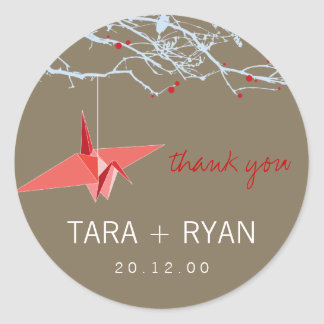 Paper Crane + Tree Thank You Wedding Sticker