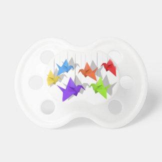 Paper cranes baby pacifier
