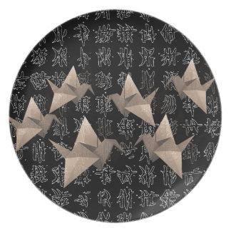 Paper cranes dinner plates