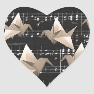 Paper cranes heart sticker