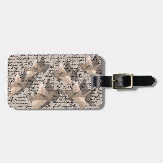 Paper cranes luggage tag