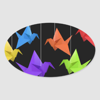 Paper cranes oval sticker
