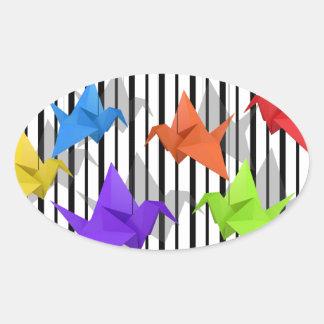 Paper cranes oval sticker