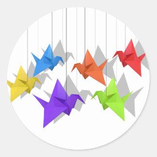 Paper cranes round sticker