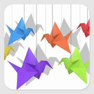 Paper cranes square sticker