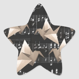 Paper cranes star sticker