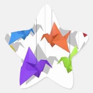 Paper cranes star sticker
