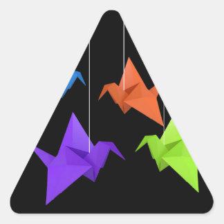 Paper cranes triangle sticker