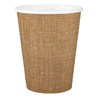 Paper Cup print with rustic brown canvas