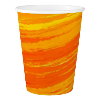 Paper Cup: Streaky Orange Design Paper Cup