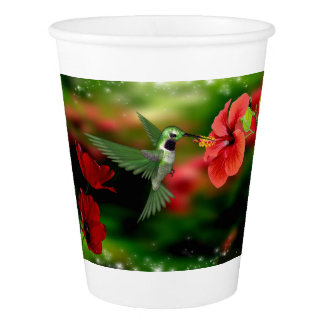 Paper Cup with a Hummingbird feeding on nectar