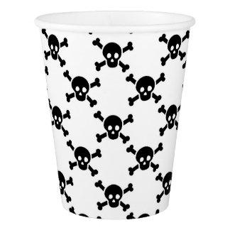 Paper Cup with black skulls & crossbones
