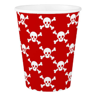 Paper Cup with white skulls and crossbones on red