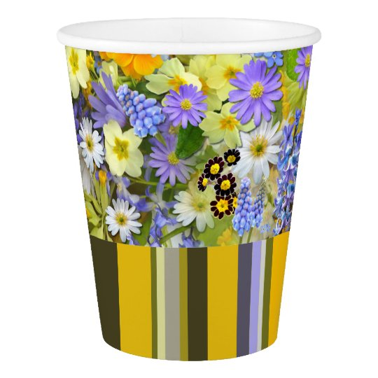 PAPER CUPS Florals And Stripes Paper Cup