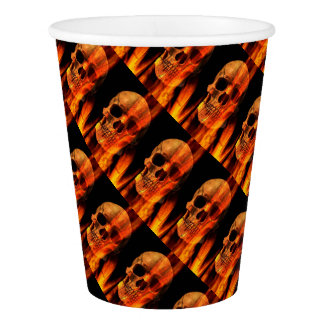 Paper Cups/Skull on Fire Paper Cup