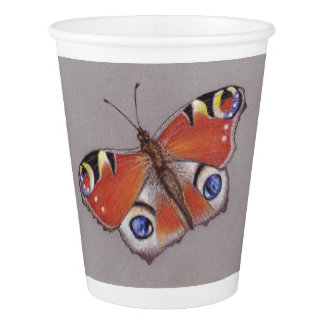 Paper Cups with Peacock Butterfly Design