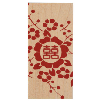 Paper Cut Flowers • Double Happiness Wood USB Flash Drive