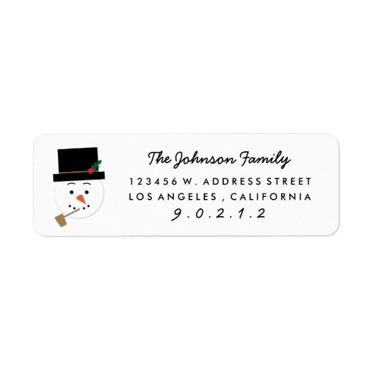Paper Cut Snowman Illustration Address  Sticker Return Address Label