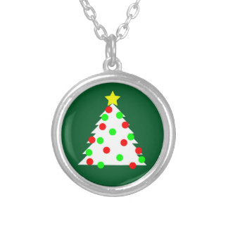 Paper Cutout Christmas Tree Silver Plated Necklace