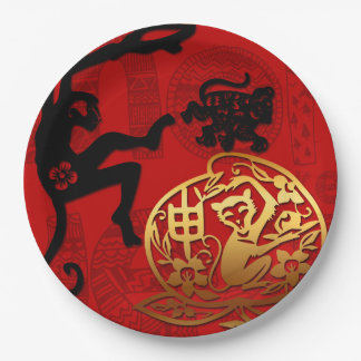 Paper Cutting  Chinese New Year of The Monkey 2016 Paper Plate
