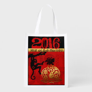 Paper Cutting  Chinese New Year of The Monkey 2016 Reusable Grocery Bag