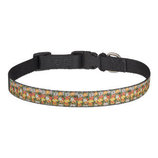 Paper Flower Collage in Yellow & Orange Dog Collar